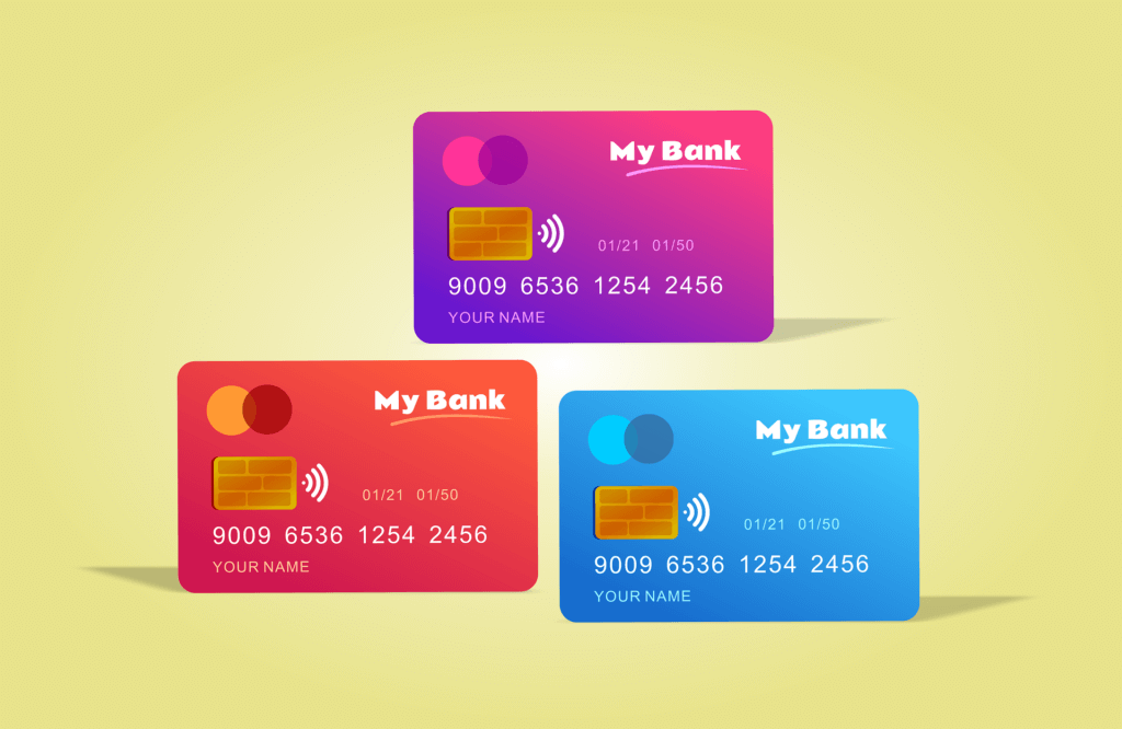 Images of different student credit cards