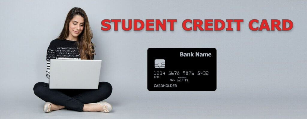 Image of Student studying on laptop and student credit card is displayed on the side